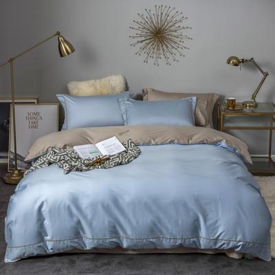 2018新款长绒棉60支工艺款四件套 1.8m(6英尺)床 月光蓝