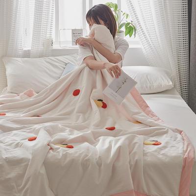 2020新款全水洗棉毛巾绣夏被 150x200cm 粉白-果子