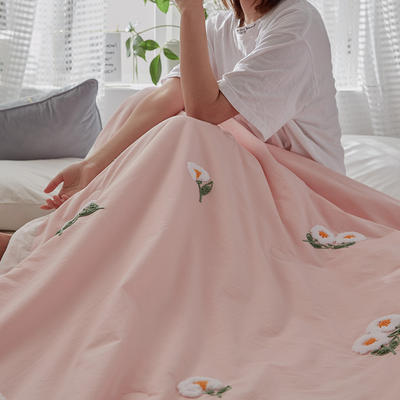 2020新款全水洗棉毛巾绣夏被 150x200cm 粉色-白菊