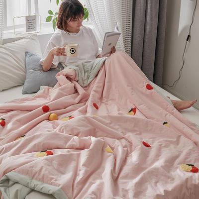 2020新款全水洗棉毛巾绣夏被 150x200cm 粉色-橙子