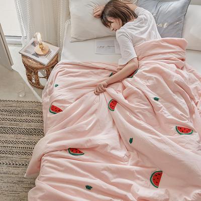 2020新款全水洗棉毛巾绣夏被 150x200cm 粉色-西瓜