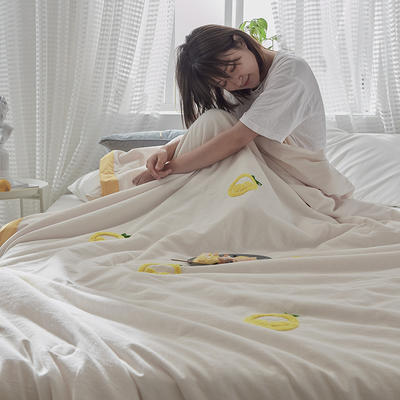 2020新款全水洗棉毛巾绣夏被 150x200cm 黄白-水果
