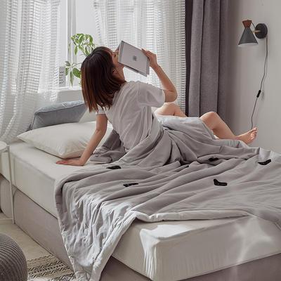 2020新款全水洗棉毛巾绣夏被 150x200cm 灰熊