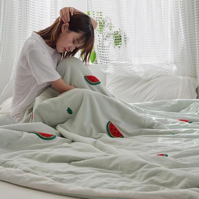 2020新款全水洗棉毛巾绣夏被 150x200cm 西瓜