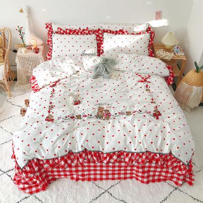 2020新款全棉色织韩版绣花系列套件 1.5m床单款四件套 贝蒂熊