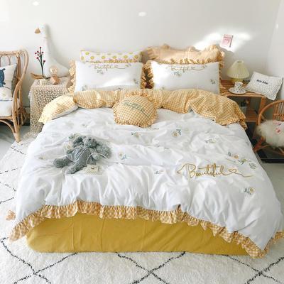 2020新款全棉色织韩版绣花系列套件 1.5m床单款四件套 向日葵