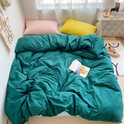 2020新款素色撞色系列套件 1.5m床单款四件套 苍绿