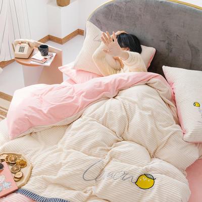 2020新款牛奶绒宝宝绒拼色四件套 1.8m床单款四件套 粉色拼素白