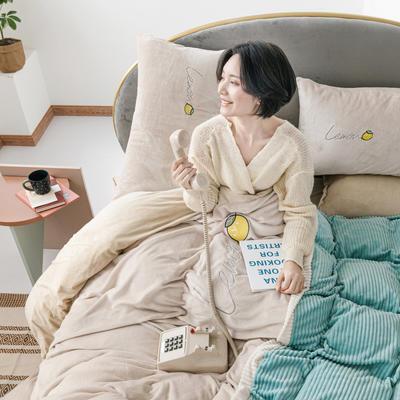 2020新款牛奶绒宝宝绒拼色四件套 1.8m床单款四件套 米驼拼抹茶绿