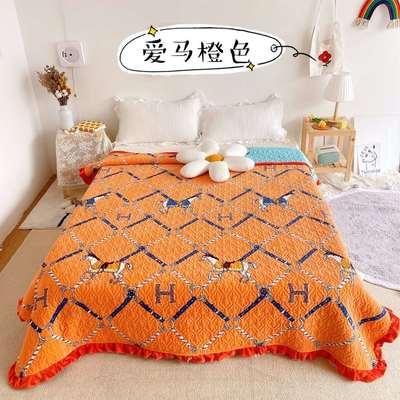2020新款牛奶绒奶夹棉绗缝单床盖韩版花边系列 200x230cm*2 爱马橙色