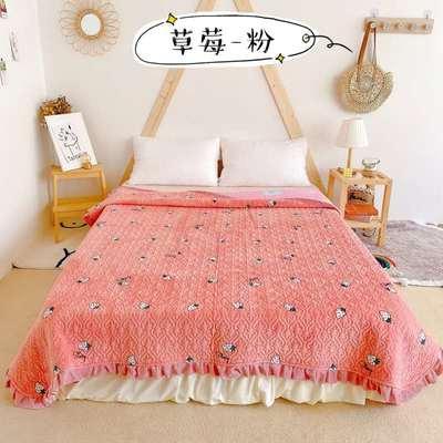 2020新款牛奶绒奶夹棉绗缝单床盖韩版花边系列 200x230cm*2 草莓-粉