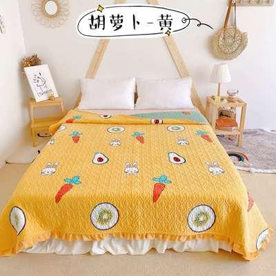 2020新款牛奶绒奶夹棉绗缝单床盖韩版花边系列 200x230cm*2 胡萝卜-黄