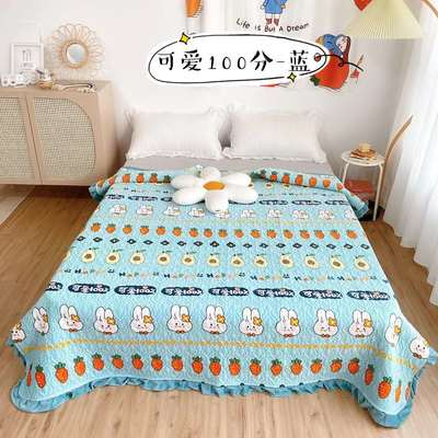2020新款牛奶绒奶夹棉绗缝单床盖韩版花边系列 200x230cm*2 可爱100分-蓝