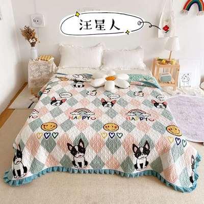 2020新款牛奶绒奶夹棉绗缝单床盖韩版花边系列 200x230cm*2 汪星人