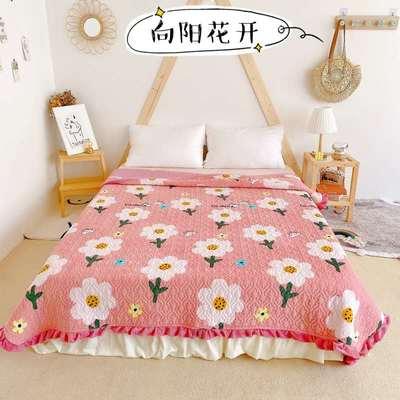 2020新款牛奶绒奶夹棉绗缝单床盖韩版花边系列 200x230cm*2 向阳花开