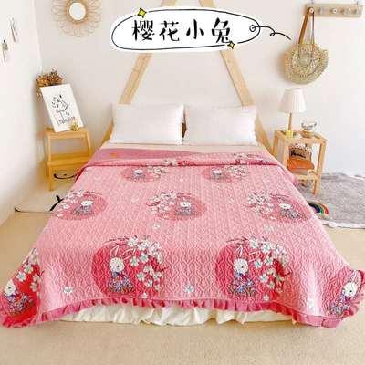 2020新款牛奶绒奶夹棉绗缝单床盖韩版花边系列 200x230cm*2 樱花小兔