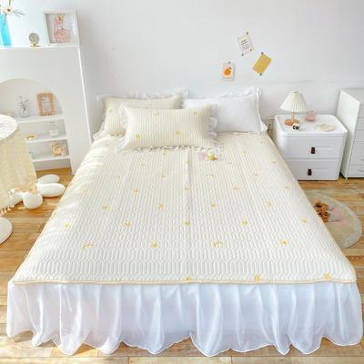 2021新款ins风欧根纱床裙款凉感丝乳胶凉席 1.8m(6英尺)床 星星月亮