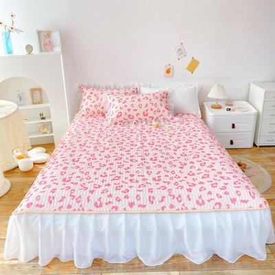2021新款ins风欧根纱床裙款凉感丝乳胶凉席 1.8m(6英尺)床 豹纹粉