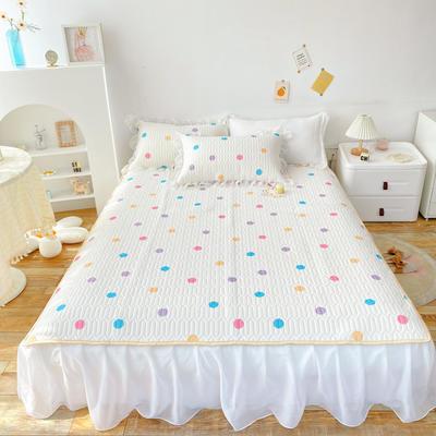 2021新款ins风欧根纱床裙款凉感丝乳胶凉席 1.8m(6英尺)床 彩色波点