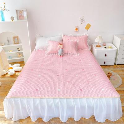 2021新款ins风欧根纱床裙款凉感丝乳胶凉席 1.8m(6英尺)床 粉爱心
