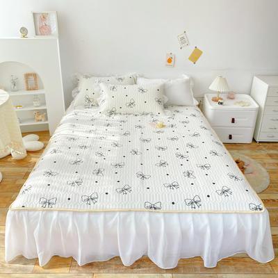 2021新款ins风欧根纱床裙款凉感丝乳胶凉席 1.8m(6英尺)床 蝴蝶结