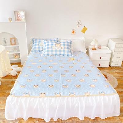 2021新款床裙式小仙仙欧根纱进口凉感丝冰丝乳胶凉席 1.8m(6英尺)床 睫毛熊