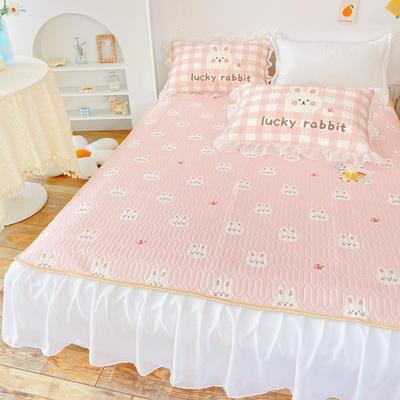 2021新款床裙式小仙仙欧根纱进口凉感丝冰丝乳胶凉席 1.8m(6英尺)床 蘑菇兔