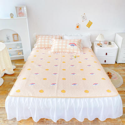 2021新款床裙式小仙仙欧根纱进口凉感丝冰丝乳胶凉席 1.8m(6英尺)床 晴天