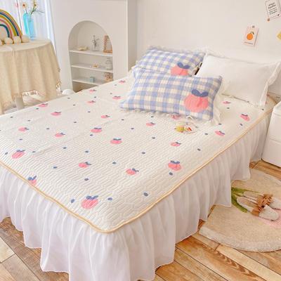 2021新款床裙式小仙仙欧根纱进口凉感丝冰丝乳胶凉席 1.8m(6英尺)床 桃桃