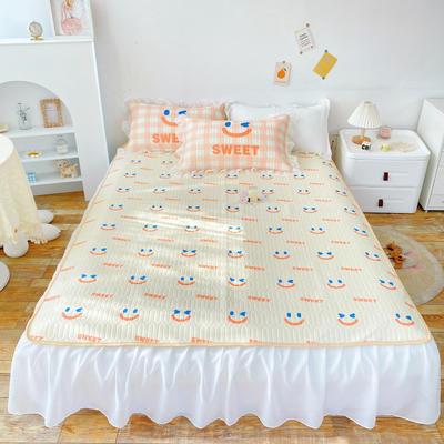 2021新款床裙式小仙仙欧根纱进口凉感丝冰丝乳胶凉席 1.8m(6英尺)床 微微