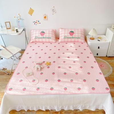 2021新款高品质进口平网凉感丝乳胶凉席 1.5m(5英尺)床 草莓果果