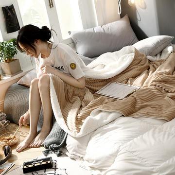 羊羔绒拼抽条法莱绒毛毯 秋冬季加厚毯子珊瑚绒小毛毯