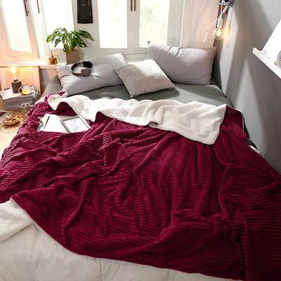 羊羔绒拼抽条法莱绒毛毯 秋冬季加厚毯子珊瑚绒小毛毯 180cmX200cm C酒红色