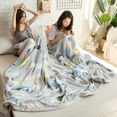 法莱绒AB版印花毛毯 加厚珊瑚绒毛毯秋冬季小毯子 180cmX200cm 阿黛尔