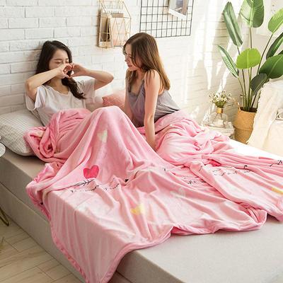 法莱绒AB版印花毛毯 加厚珊瑚绒毛毯秋冬季小毯子 180cmX200cm 安吉拉