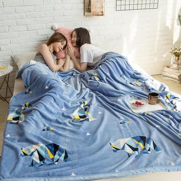 法莱绒AB版印花毛毯 加厚珊瑚绒毛毯秋冬季小毯子