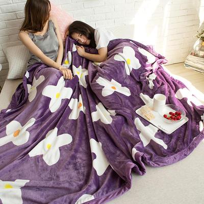 法莱绒AB版印花毛毯 加厚珊瑚绒毛毯秋冬季小毯子 180cmX200cm 杰西卡