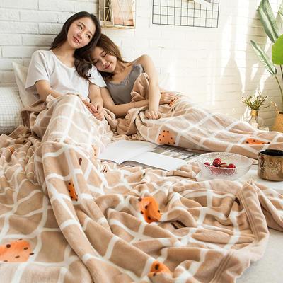 法莱绒AB版印花毛毯 加厚珊瑚绒毛毯秋冬季小毯子 180cmX200cm 斯托克