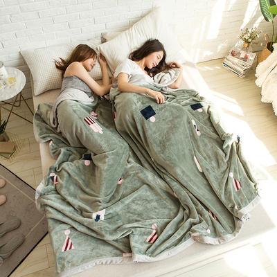 法莱绒AB版印花毛毯 加厚珊瑚绒毛毯秋冬季小毯子 180cmX200cm 文森特