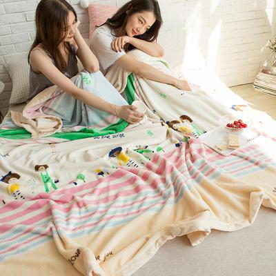 法莱绒AB版印花毛毯 加厚珊瑚绒毛毯秋冬季小毯子 180cmX200cm 亚瑟