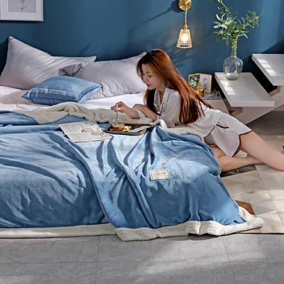 280克贝贝绒拼280克法莱绒毛毯 秋冬天盖毯单人沙发毯午睡毯双人珊瑚绒小毯子 180cmX200cm B湖蓝色