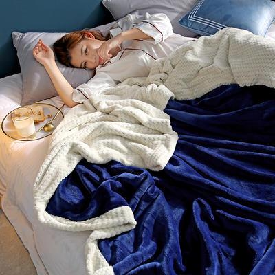 280克贝贝绒拼280克法莱绒毛毯 秋冬天盖毯单人沙发毯午睡毯双人珊瑚绒小毯子 180cmX200cm B宝蓝色