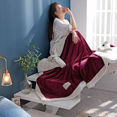 280克贝贝绒拼280克法莱绒毛毯 秋冬天盖毯单人沙发毯午睡毯双人珊瑚绒小毯子 180cmX200cm B酒红色