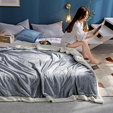 280克贝贝绒拼280克法莱绒毛毯 秋冬天盖毯单人沙发毯午睡毯双人珊瑚绒小毯子