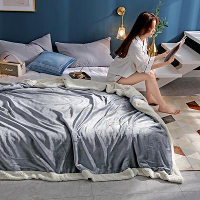 280克贝贝绒拼280克法莱绒毛毯 秋冬天盖毯单人沙发毯午睡毯双人珊瑚绒小毯子 180cmX200cm B浅灰色