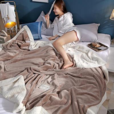 280克贝贝绒拼280克法莱绒毛毯 秋冬天盖毯单人沙发毯午睡毯双人珊瑚绒小毯子 180cmX200cm B浅咖色