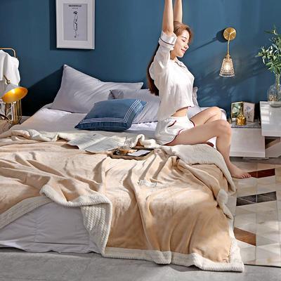 280克贝贝绒拼280克法莱绒毛毯 秋冬天盖毯单人沙发毯午睡毯双人珊瑚绒小毯子 180cmX200cm B驼色