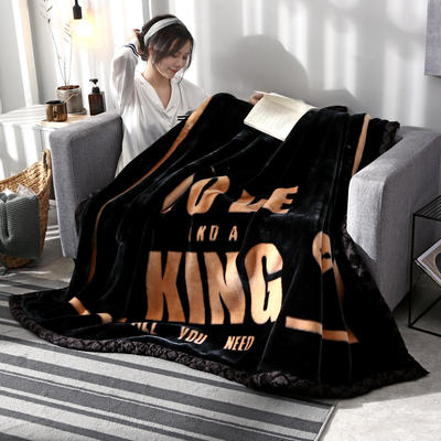 2019新款大版花经编拉舍尔毛毯 加厚双层单人双人毯子秋冬季婚庆盖毯被子 150cmX200cm重量4斤 失志不渝