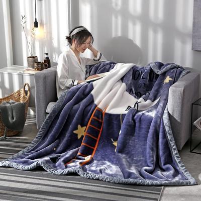 2020新款大版花经编拉舍尔毛毯 加厚双层单人双人毯子秋冬季婚庆盖毯被子 150cmX200cm重量5斤 新月如钩