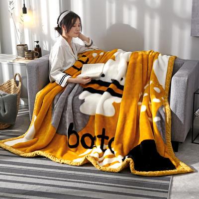2020新款大版花经编拉舍尔毛毯 加厚双层单人双人毯子秋冬季婚庆盖毯被子 180cmX220cm重量6斤 怦然心动